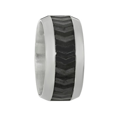 Mens Two-Tone Stainless Steel Band Ring with Black Plating