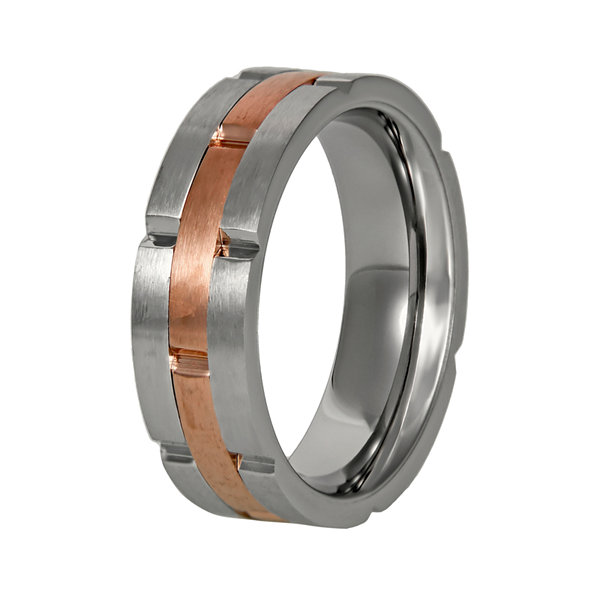 Mens Two-Tone Stainless Steel Band Ring with Rose Plating