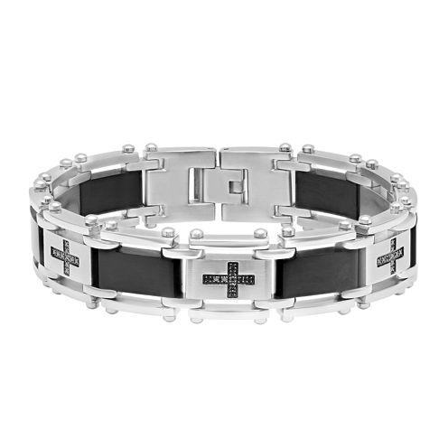 Mens 1/4 CT. T.W.  Black Diamond Black IP Stainless Steel Cross Link Bracelet