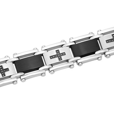 Mens 1/4 CT. T.W.  Black Diamond Black IP Stainless Steel Cross Link Bracelet