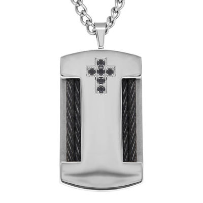 Black Cubic Zirconia & Stainless Steel Cross Dog Tag Pendant Necklace
