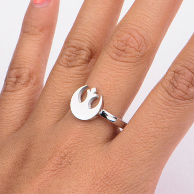 Star Wars® Stainless Steel Rebel Alliance Symbol Cutout Ring