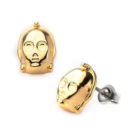 Star Wars® Gold Ion-Plated Stainless Steel C-3PO 3D Stud Earrings