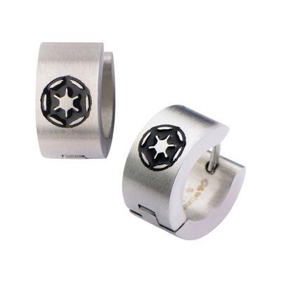 Star Wars® Stainless Steel Galactic Empire Cog Logo Hoop Earrings