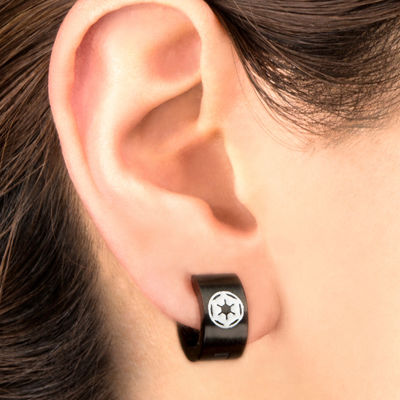 Star Wars® Black Stainless Steel Galactic Empire Cog Logo Hoop Earrings