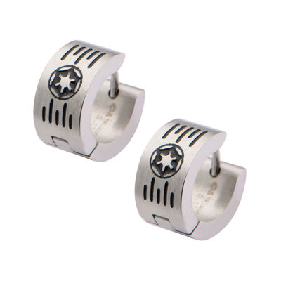 Star Wars® Stainless Steel Galactic Empire Cog and Grate Logo Hoop Earrings