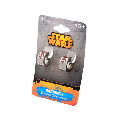 Star Wars® Stainless Steel Mandalorian Symbol Hoop Earrings