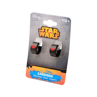 Star Wars® Black Stainless Steel and Enamel Rebel Logo Hoop Earrings