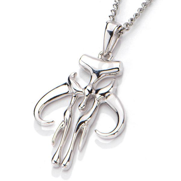 Fine Jewelry Star Wars Stainless Steel Mandalorian Symbol Cutout Pendant Necklace XhvyzY