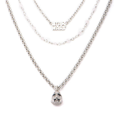 Star Wars® Stainless Steel Stormtrooper 3-Tiered Pendant Necklace