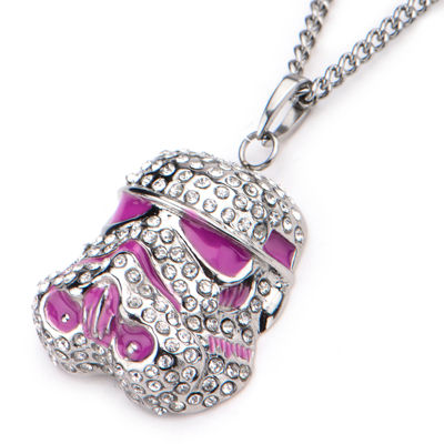 Star Wars® Cubic Zirconia Stainless Steel Stormtrooper Pendant Necklace