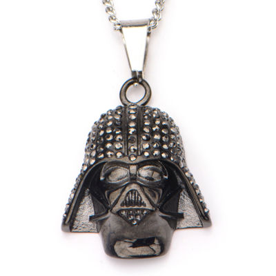 Star Wars® Black IP Stainless Steel Darth Vader Pendant Necklace