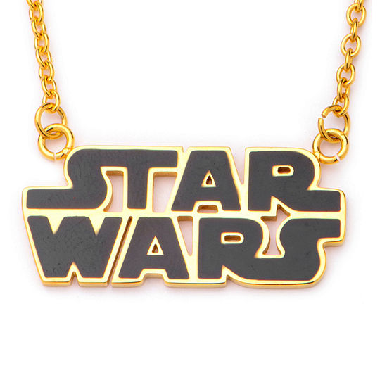 Star Wars Gold Ip Stainless Steel Logo Cutout Pendant Necklace