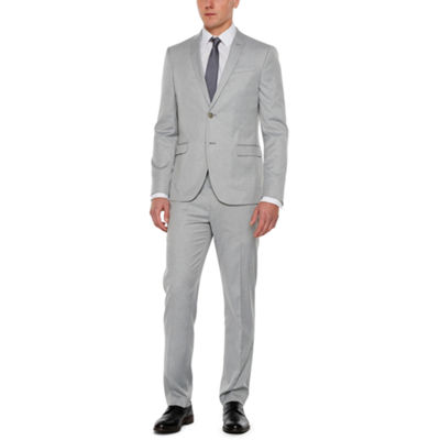 JF J.Ferrar Light Gray Tic Super Slim Fit Suit Separates