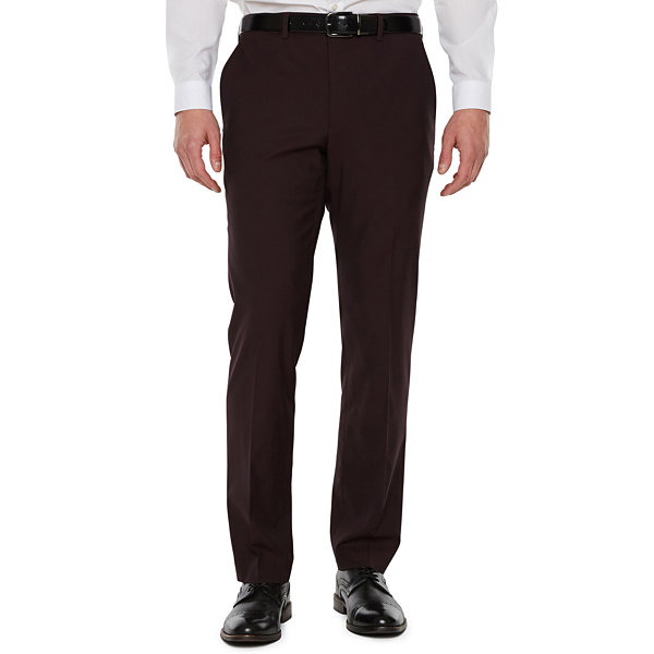 JF J.Ferrar Merlot Stretch Pulse Suit Pant Slim Fit Stretch Suit Pants