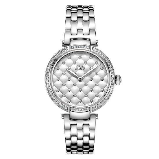 JBW 1/5 Ct. Tw. Genuine Diamond Womens Silver Tone Stainless Steel Bracelet Watch-J6356c