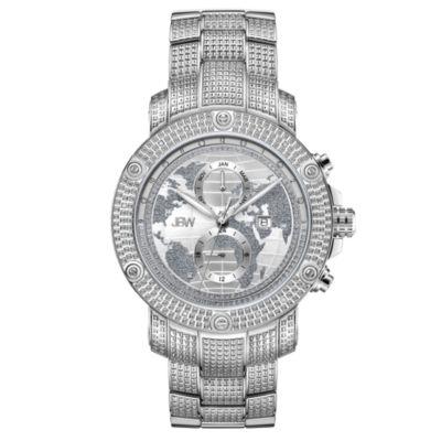 JBW 18 Diamonds At .18ctw Mens Silver Tone Bracelet Watch-J6360a