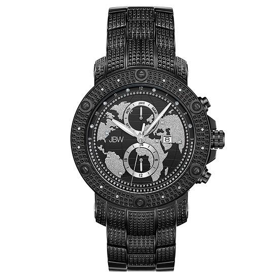 JBW 18 Diamonds At .18ctw Mens Black Bracelet Watch-J6360b