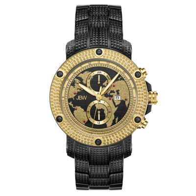JBW 18 Diamonds At .18ctw Mens Black Bracelet Watch-J6360e
