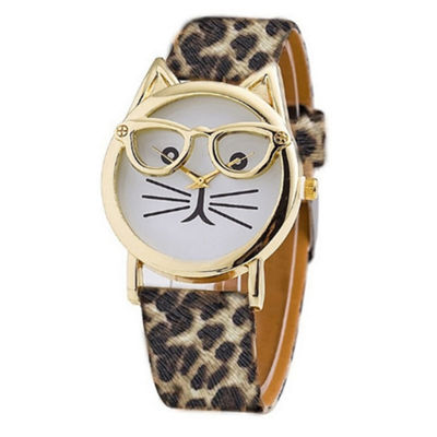 Olivia Pratt Cat Unisex Green Strap Watch-15097cheetah