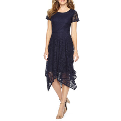 Ronni Nicole Short Sleeve Lace Hanky Hem Fit & Flare Dress