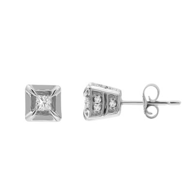 1/2 CT. T.W. Genuine White Diamond 10K Gold 8mm Stud Earrings
