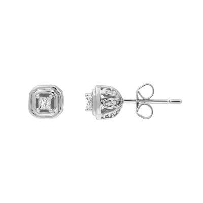 1/4 CT. T.W. Genuine White Diamond 10K Gold 8mm Stud Earrings