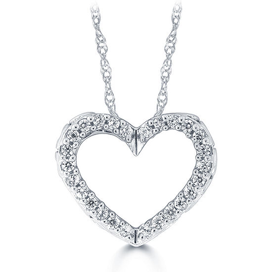 Womens 1/10 CT. T.W. Genuine White Diamond 10K Gold Heart Pendant Necklace