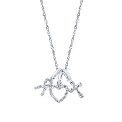 Womens 1/10 CT. T.W. Genuine White Diamond 10K Gold Heart Pendant Necklace