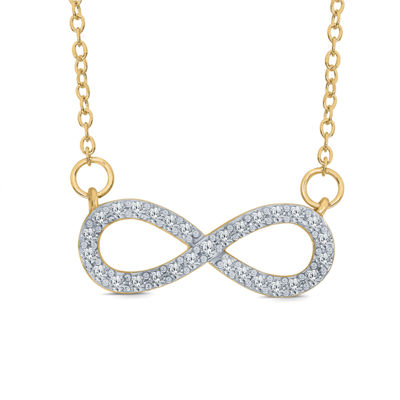 Womens 1/5 CT. T.W. Genuine White Diamond 10K Gold Infinity Pendant Necklace