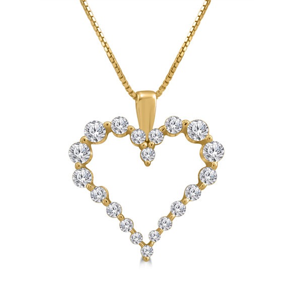 Womens 1/2 CT. T.W. White Diamond 10K Gold Pendant Necklace