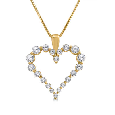 Womens 1/2 CT. T.W. Genuine White Diamond 14K Gold Heart Pendant Necklace