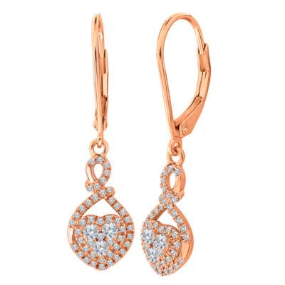1/2 CT. T.W. Genuine White Diamond 14K Gold Heart Drop Earrings