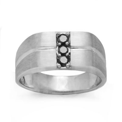 Mens 1/4 CT. T.W. Black Diamond Sterling Silver
