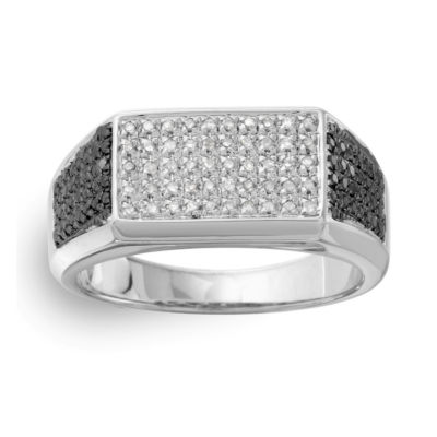 Mens 1/2 CT. T.W. Black Diamond Sterling Silver