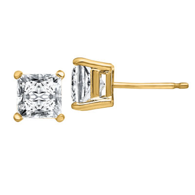 1 3/8 CT. T.W. White Moissanite 14K Gold 5mm Square Stud Earrings