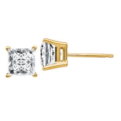 2 1/3 CT. T.W. White Moissanite 14K Gold 6mm Square Stud Earrings