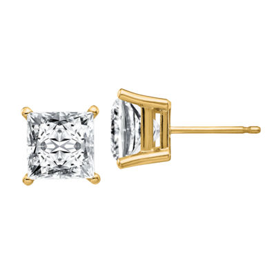 3 CT. T.W. White Moissanite 14K Gold 6.5mm Square Stud Earrings