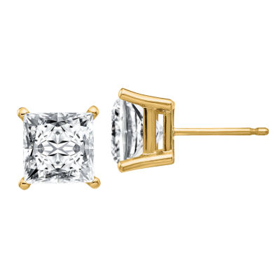 3 3/4 CT. T.W. White Moissanite 14K Gold 7mm Square Stud Earrings