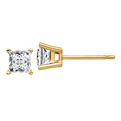 3/4 CT. T.W. White Moissanite 14K Gold 4mm Square Stud Earrings