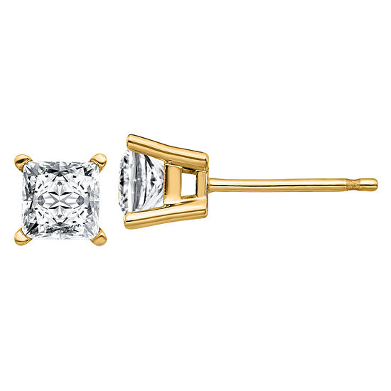 1 CT. T.W. White Moissanite 14K Gold 4.5mm Square Stud Earrings