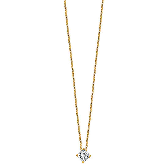 Womens 1/2 CT. T.W. White Moissanite 14K Gold Square Pendant Necklace Set