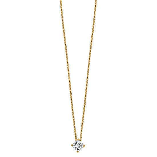 Womens 1/2 CT. T.W. White Moissanite 14K Gold Square Pendant Necklace