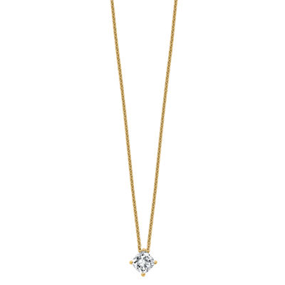 Womens 3/4 CT. T.W. White Moissanite 14K Gold Square Pendant Necklace Set