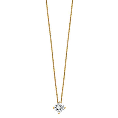 Womens 1 CT. T.W. White Moissanite 14K Gold Square Pendant Necklace Set