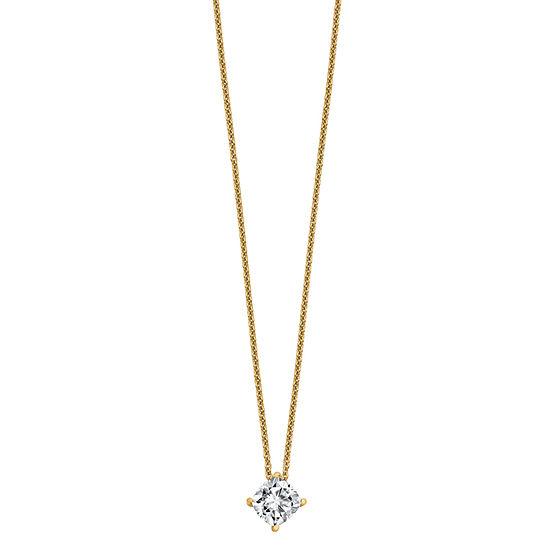 Womens 1 CT. T.W. White Moissanite 14K Gold Square Pendant Necklace Set