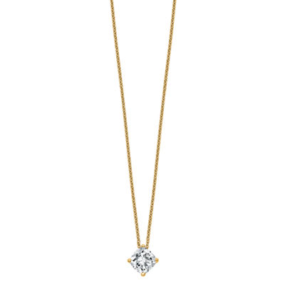 Womens 1 1/5 CT. T.W. White Moissanite 14K Gold Square Pendant Necklace Set