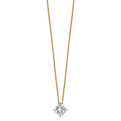 Womens 1 1/2 CT. T.W. White Moissanite 14K Gold Square Pendant Necklace Set
