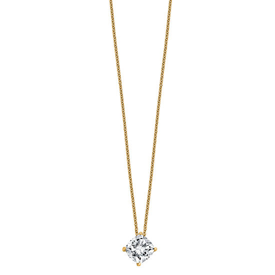 Womens 1 3/4 CT. T.W. White Moissanite 14K Gold Square Pendant Necklace Set