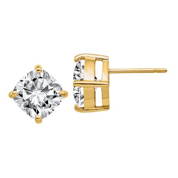 3 1/2 CT. T.W Cushion White Moissanite 14K Gold Stud Earrings